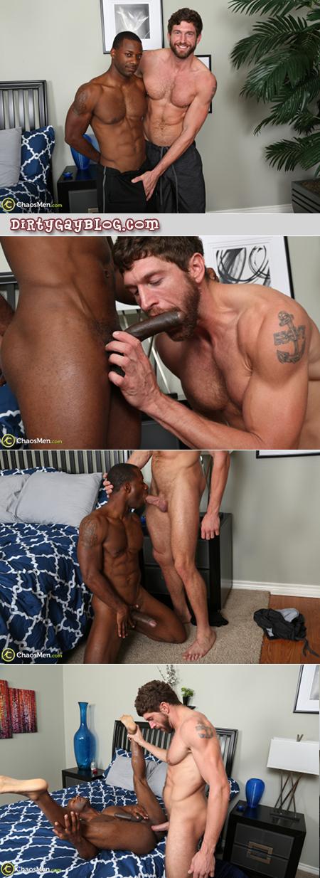 Interracial gay muscle hunks sucking cock and fucking bareback.
