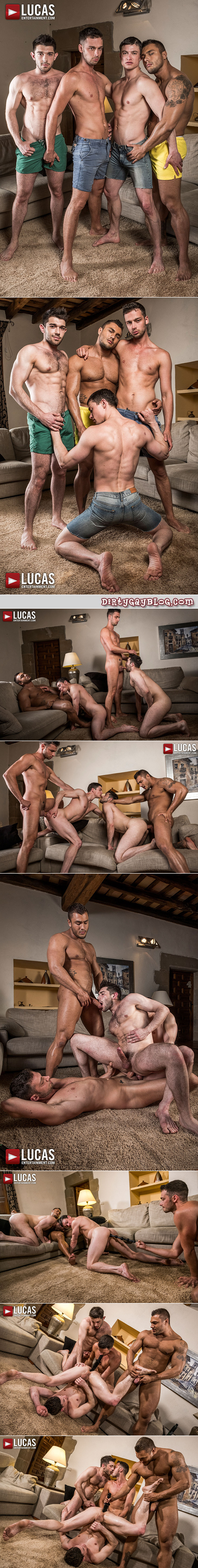 Gay group sex featuring sex toys, double penetration and bareback.