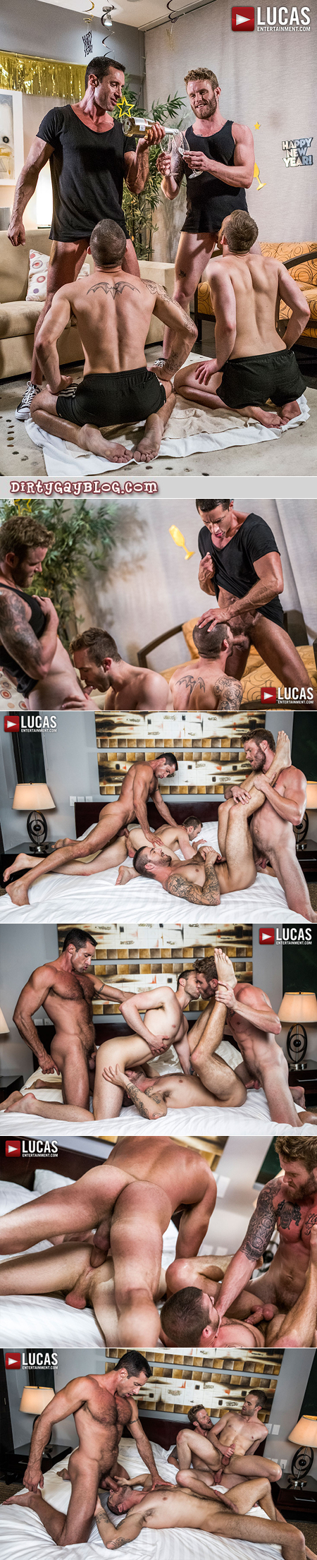 Muscular gay men having bareback group sex together.