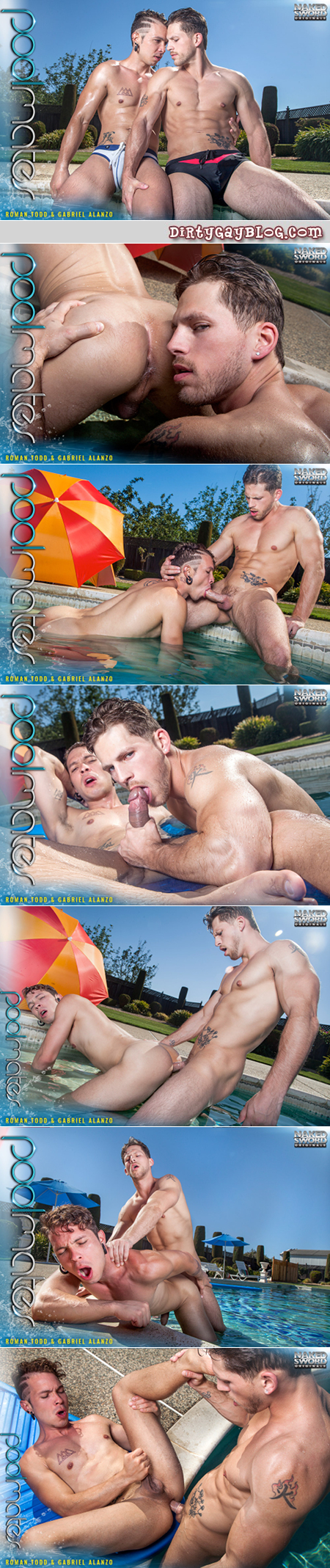 Muscular twunk fucking another guy poolside.