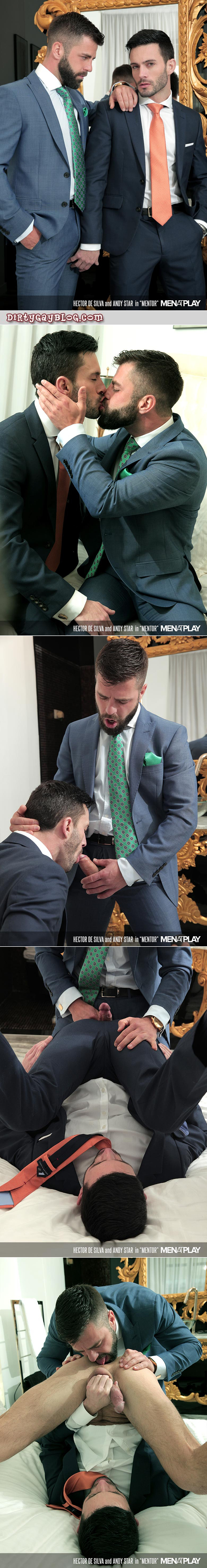 Gay businessman having sex with his hunky male mentor.
