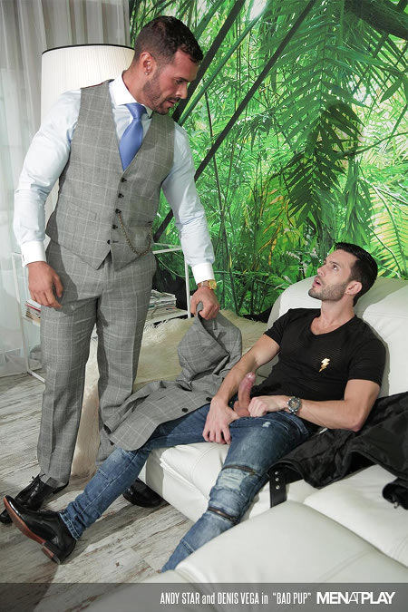 Businessman catches a young man masturbating to his suit jacket smell.