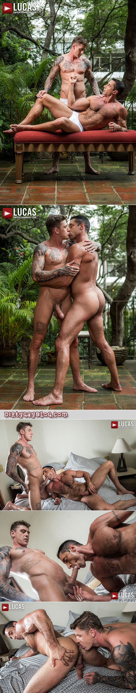 Hairy muscle Daddy getting fucked bareback by a tattooed, muscular uncut stud.