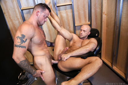 Gay muscle hunks fucking in a  barber chair.