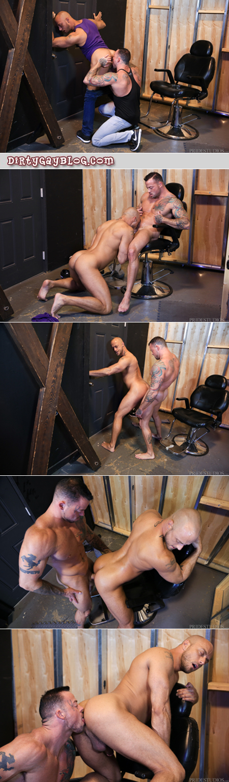 Gay muscle hunks fucking in a sex playroom.