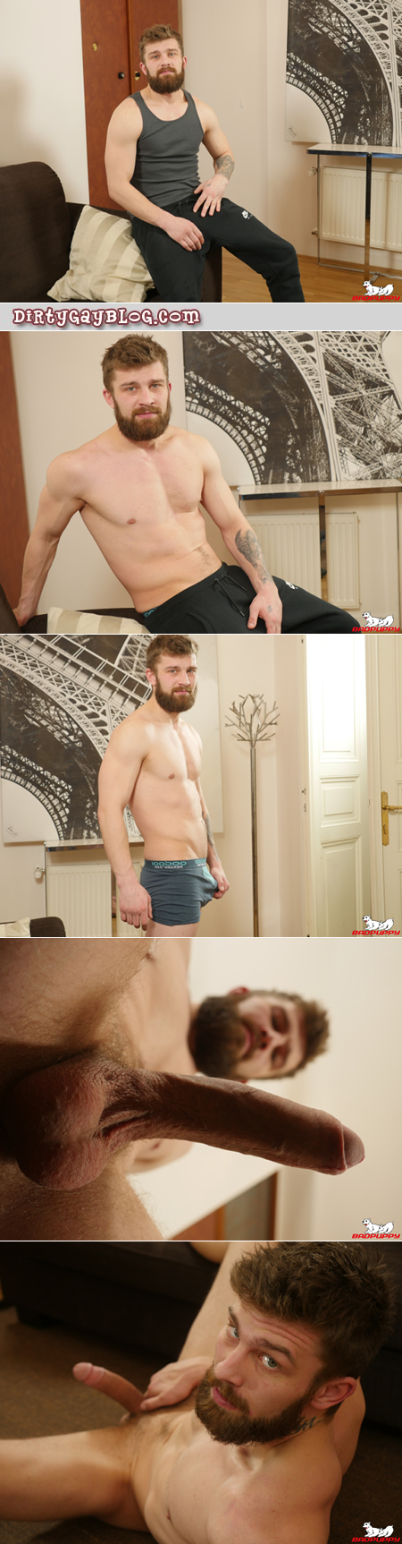 Bearded Czech hunk stripping and stroking his large uncut cock.