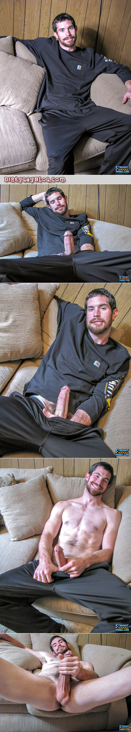 Fit straight guy pulls his big hard cock out of his sweatpants.