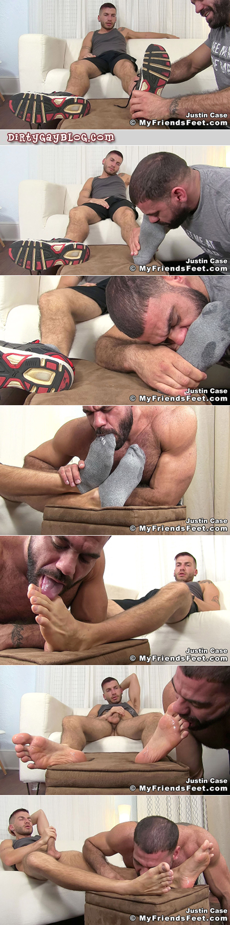 Hairy muscle hunk worshiping the feet of a hung man while he masturbates.
