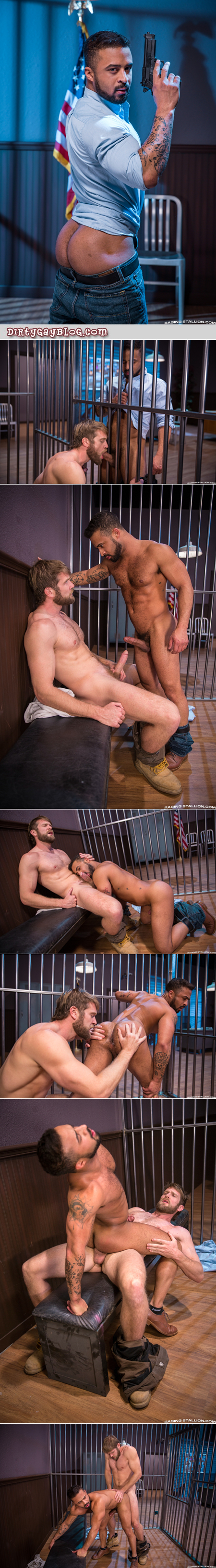Hairy, muscular ginger having gay sex in jail.