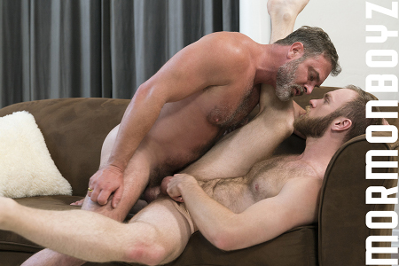 Mormon Elder having gay sex with a hairy younger man.