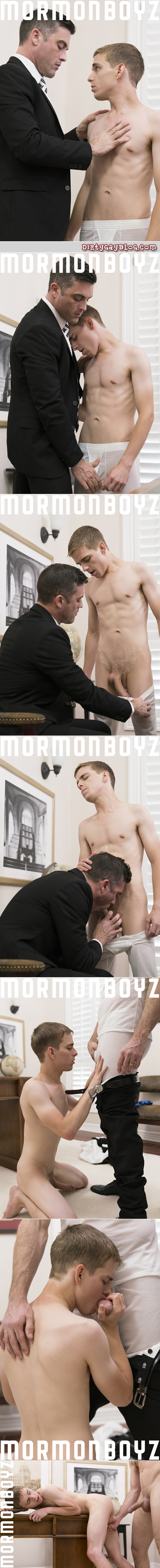 Mormon Bishop strips an Elder boy out of his temple garment to have gay sex with him.
