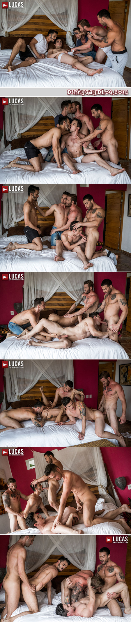 Tattooed muscle men wake up their bottom buddy for gay group sex.