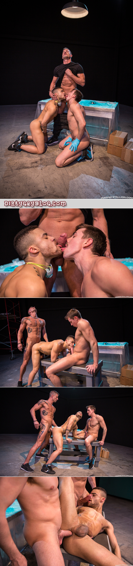 Two male employees servicing their muscular boss.