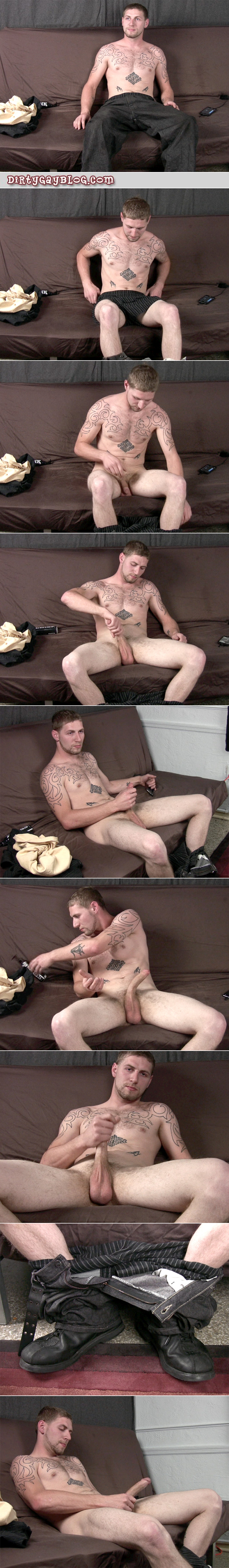 Straight blonde guy with a big dick masturbating on the couch.
