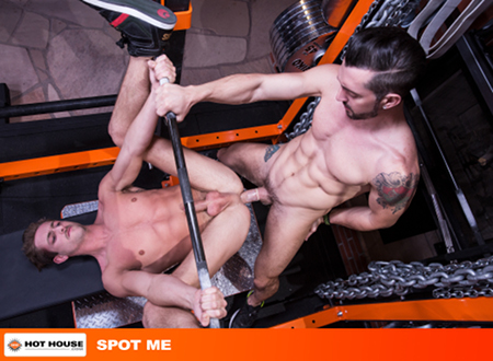 Muscular male gym rats having gay anal sex on a bench press.