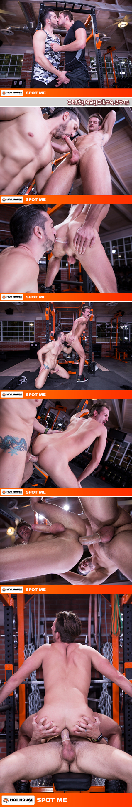 Muscular trainer fucking his male client on the gym equipment.