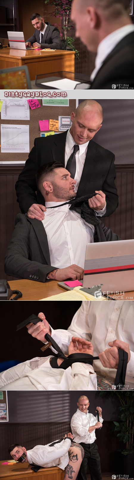 Bald Daddy in a suit practices gay BDSM with his male intern.