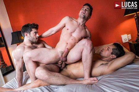 Gay bareback double penetration.