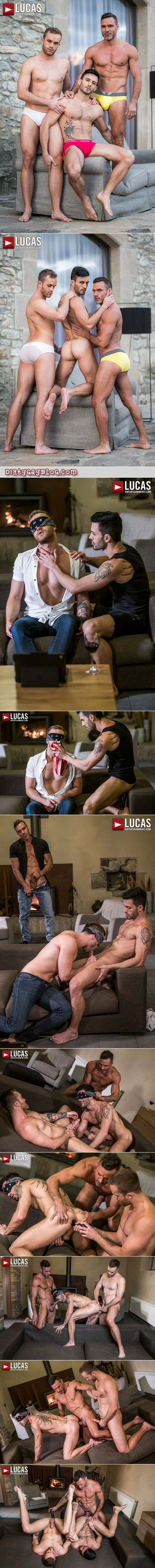 Muscle Daddy fucks two younger guys he finds having gay sex together.