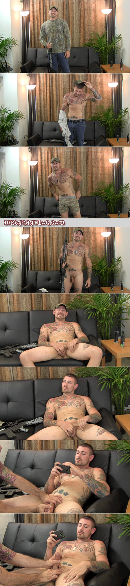 Straight tattooed hunk gets groped while he masturbates.