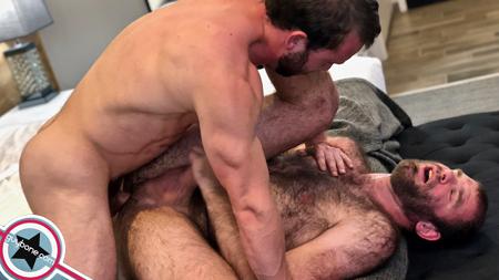 Hairy men fucking bareback.