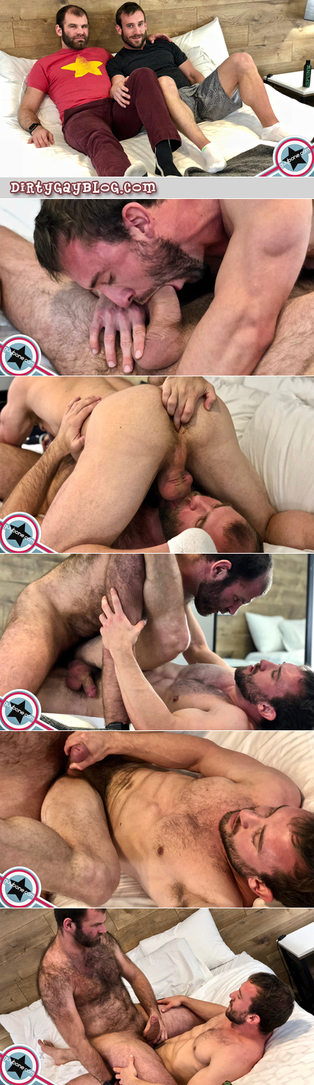 Hairy men having gay bareback sex with each other.