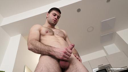Eastern European hunk masturbating.