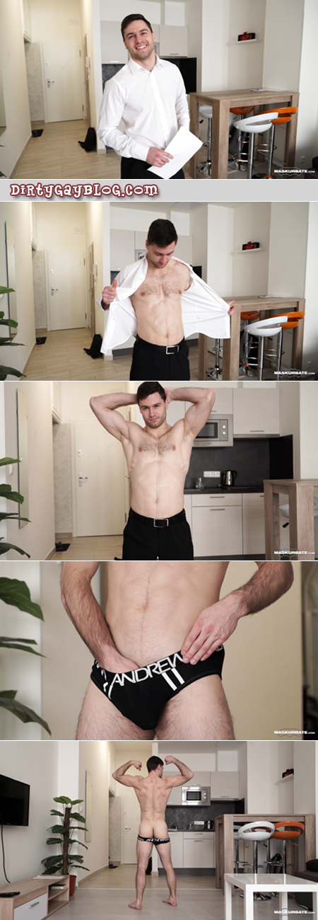 Muscular white collar guy stripping and masturbating.
