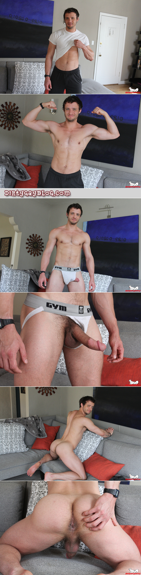 Gay muscle jock shows his hairy dick and asshole.
