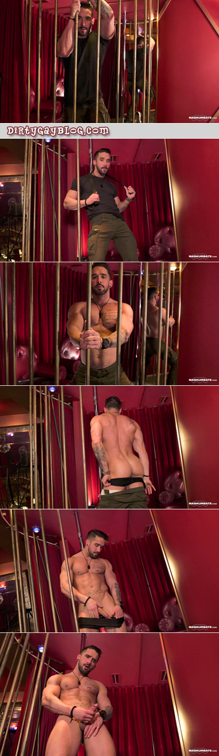 Muscular French male stripper doing a cage dance striptease.