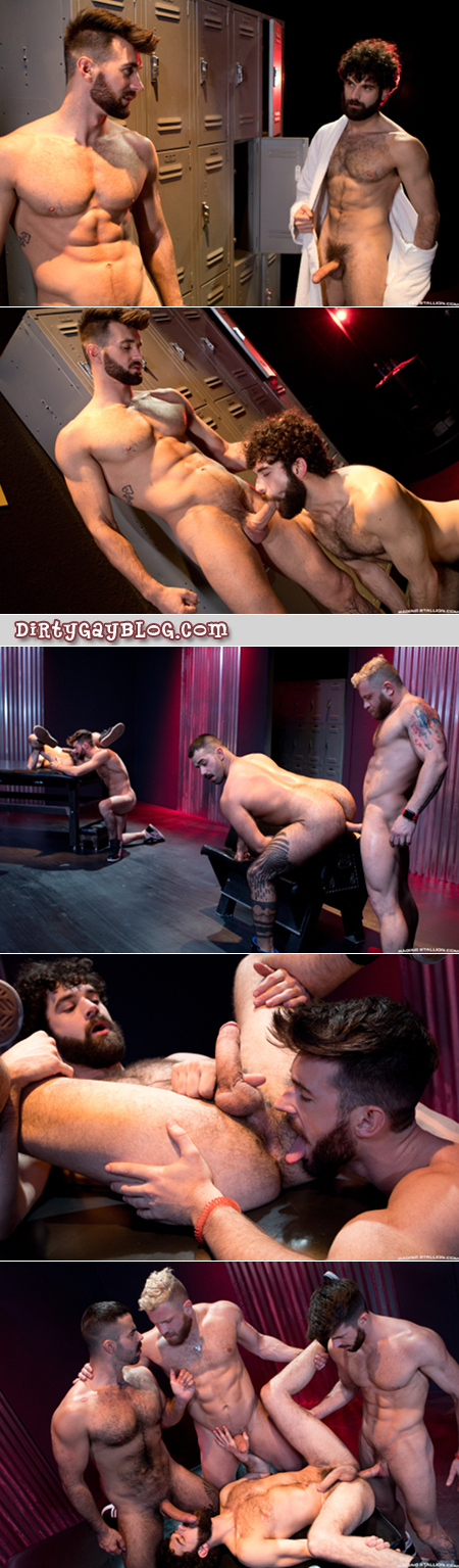 Hairy, muscular men having gay group sex together in an alley.