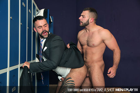 Hairy Latino muscle bear business man having gay sex in the locker room.