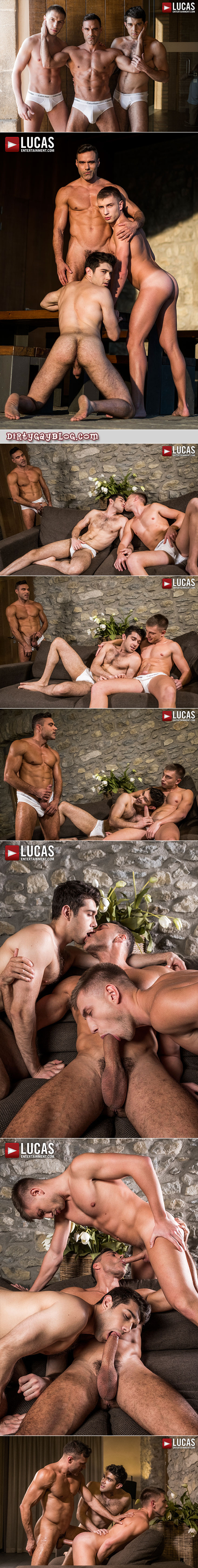 Muscle Daddy fucking two fit younger guys bareback.