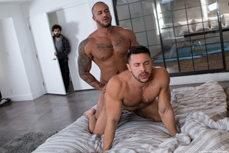 Hung hunks caught having gay sex.