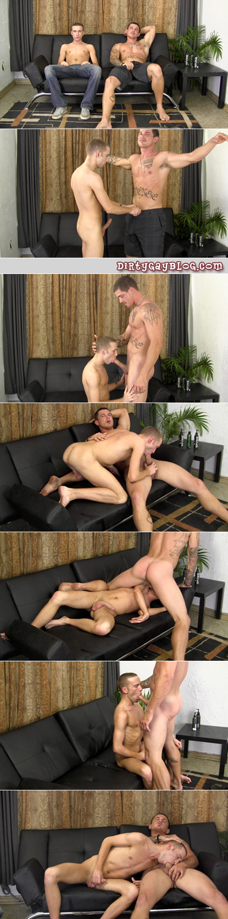 Gay-for-pay star Sebastian Young teaching a young twink how to swallow a huge dick.