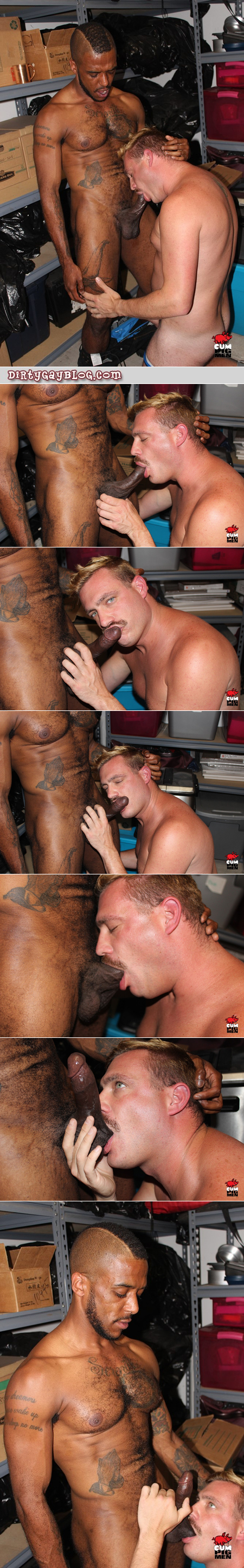 Blonde mustached faggot sucking blatino cock in the storage closet.