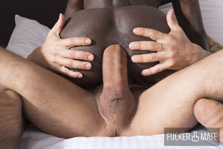 Black man getting fucked bareback by an enormous Italian cock.