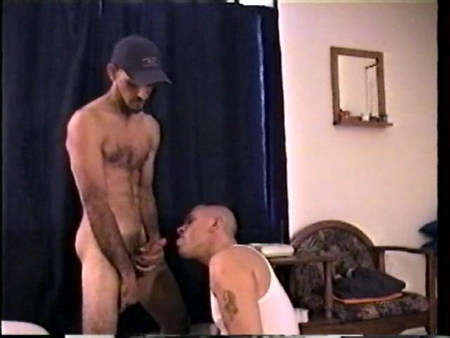 Straight guy beating off into the mouth of his gay friend.