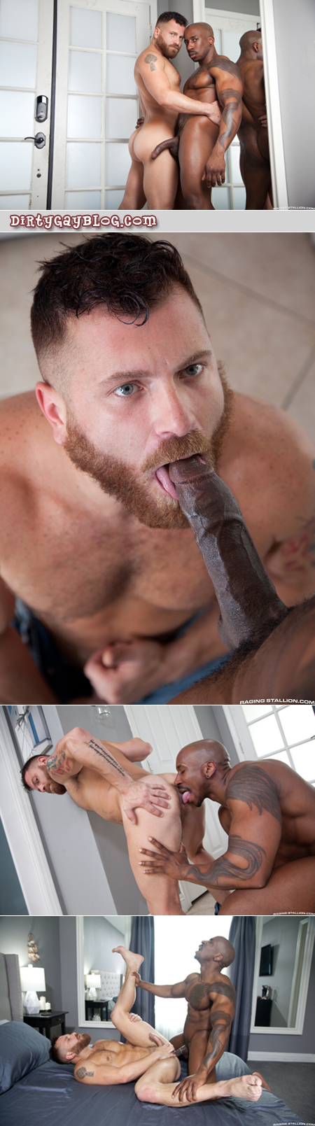 Muscle bear driver getting fucked in the ass by his horse-hung black customer.