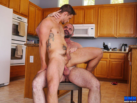 Hairy muscle Daddy fucking his son bareback.