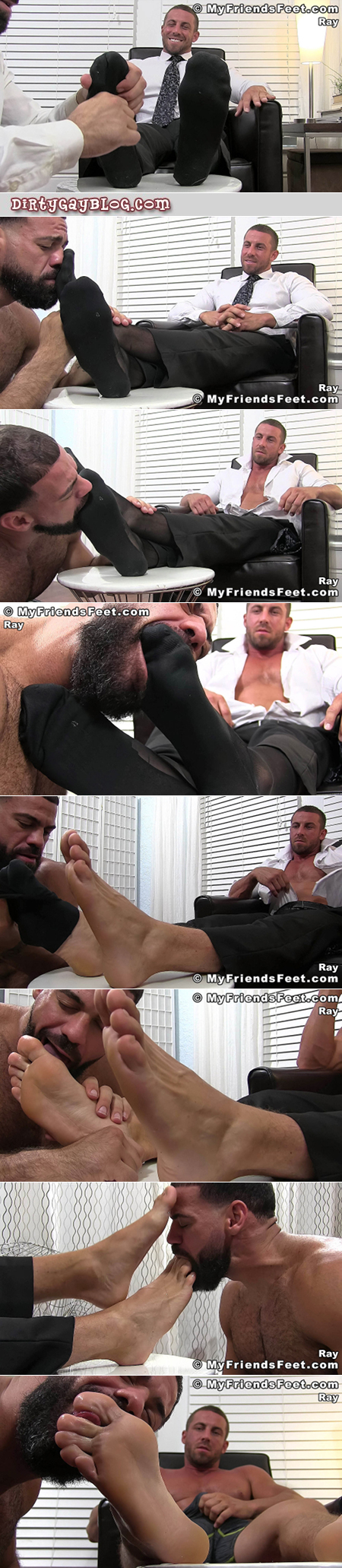 Hunky businessman having his feet worshiped by another man.