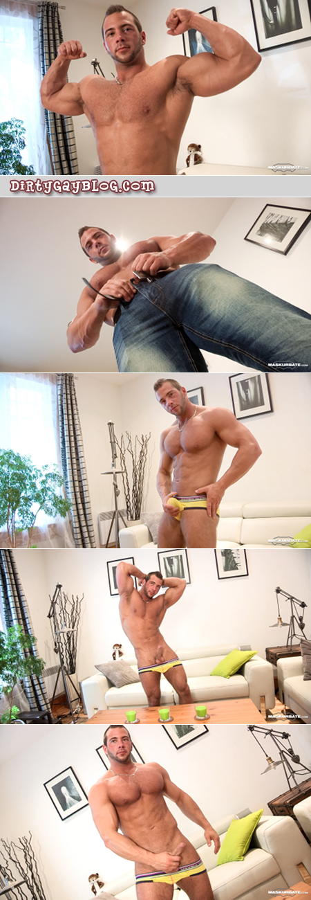 Furry French bodybuilder posing and masturbating in gay briefs.