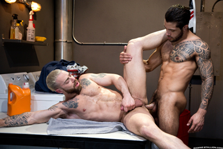 Muscular Latin hunks fucking in the laundry room.