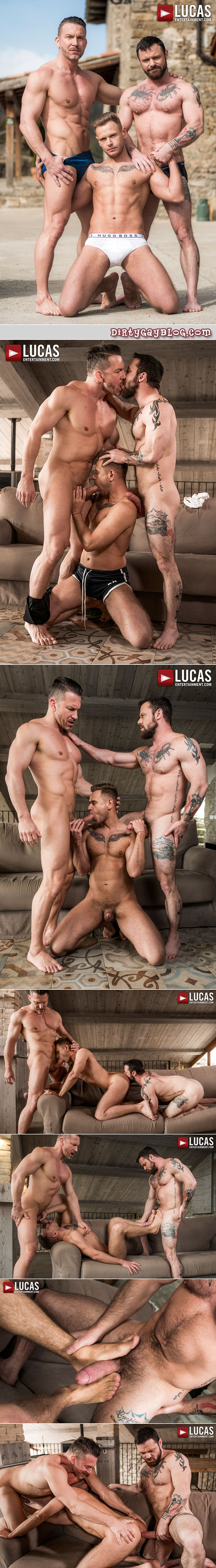 Muscular studs in a bareback gay sex threeway.