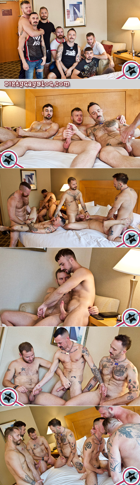 All-male circle jerk turns gay.
